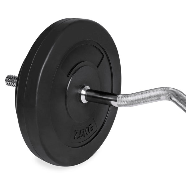 55lb W-Shape Curl Bar Weight Workout Set w/ 2 Spin-Lock Collars, 4 Plates