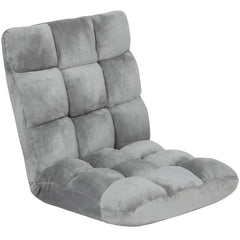 Best Choice Products Memory Foam Cushioned Floor Gaming Sofa Chair Folding Adjustable- Gray