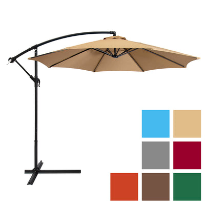 Patio Umbrella Offset 10' Hanging Umbrella Outdoor Market Umbrella New Tan