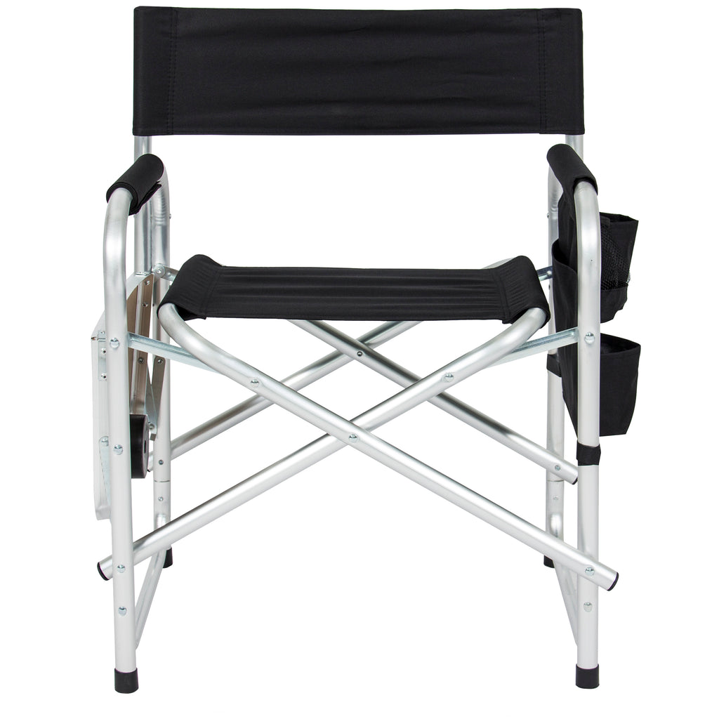 Folding Camping Director's Chair w/ Side Table, Cup Holder, Storage Pouch