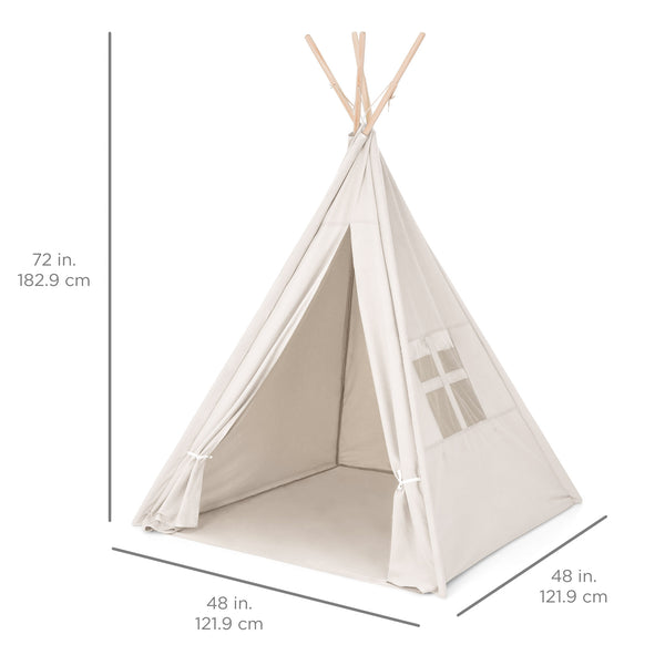 6ft Kids Pretend Cotton Teepee Play Tent w/ Mesh Window, Carrying Case