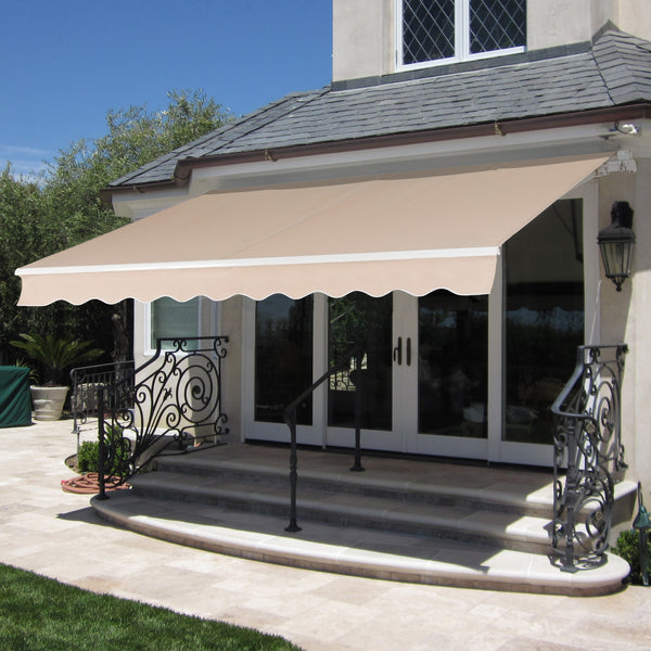 BCP 98x80in Retractable Patio Awning Cover w/ Aluminum Frame (Beige)