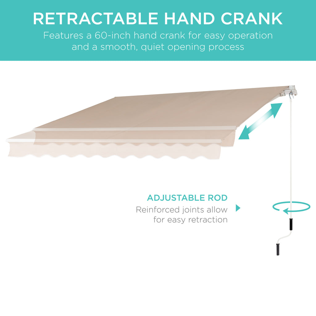 Retractable Patio Awning w/ Aluminum Frame, Crank Handle, 98x80in