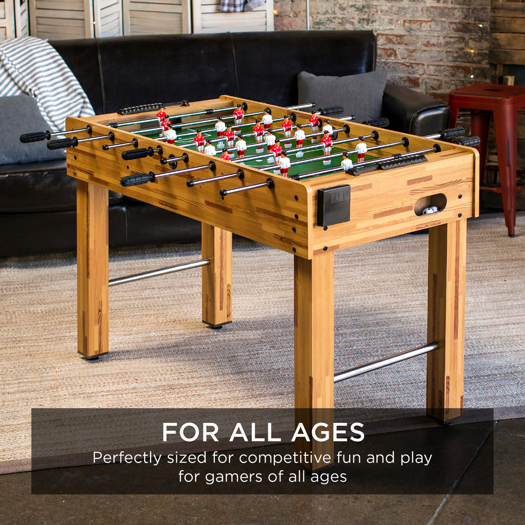 48in Foosball Soccer Arcade Game Table w/ Built-In Cup Holders, 2 Balls