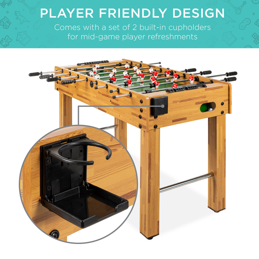 48in Foosball Soccer Arcade Game Table W Built In Cup Holders 2 Balls
