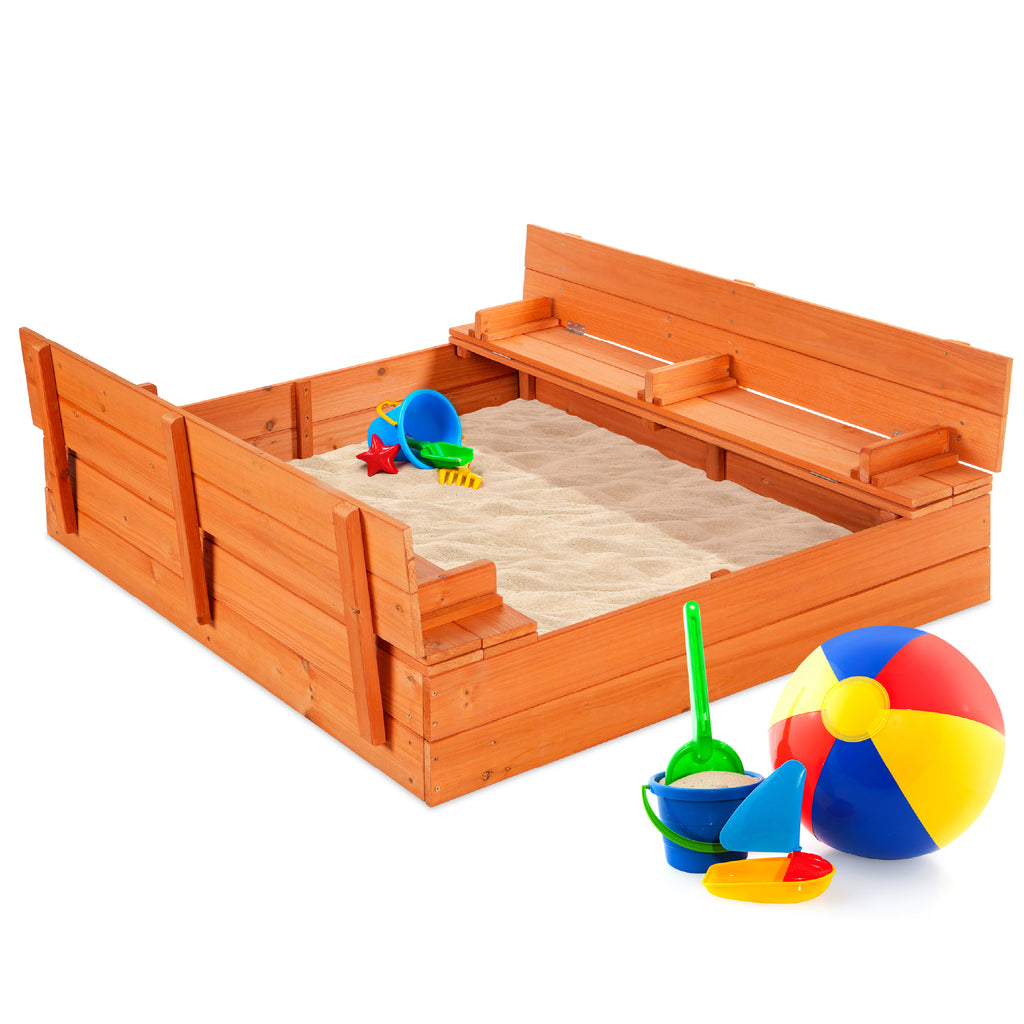 Kids Cedar Sandbox w/ Sand Screen, 2 Benches - 47x47in