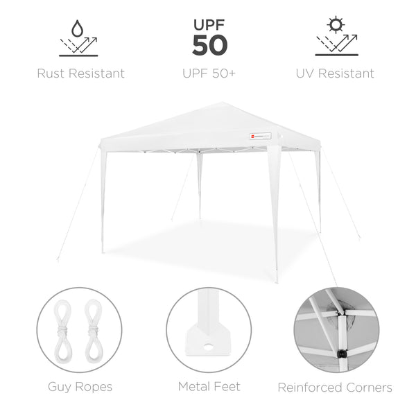 10x10ft Outdoor Portable Pop Up Canopy Tent w/ Carrying Case - White