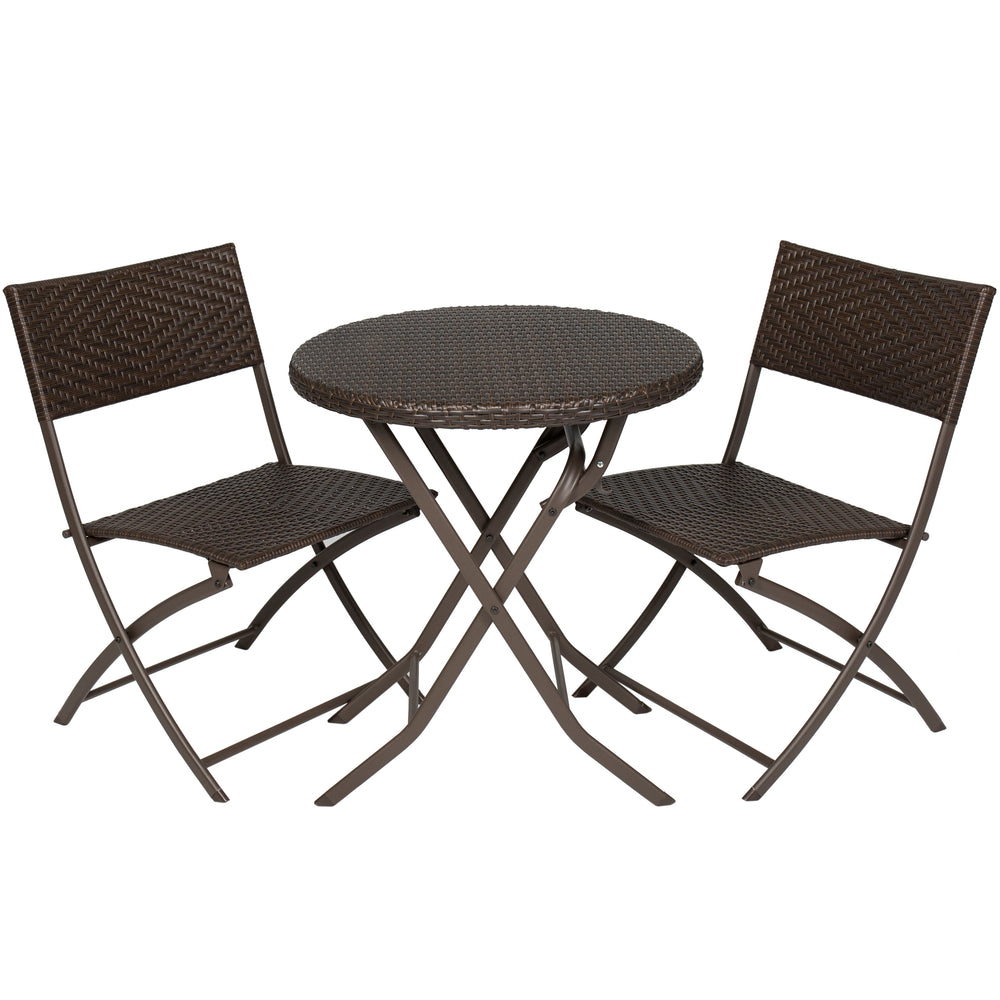 3 piece folding rattan bistro set brown best choice products