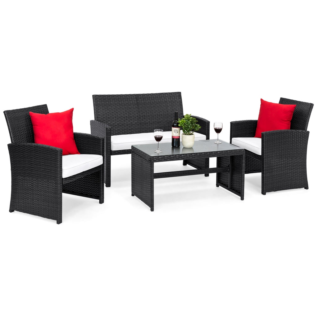 4-Piece Outdoor Wicker Sofa Furniture Set w/ 1 Double, 2 Single Sofas, Table