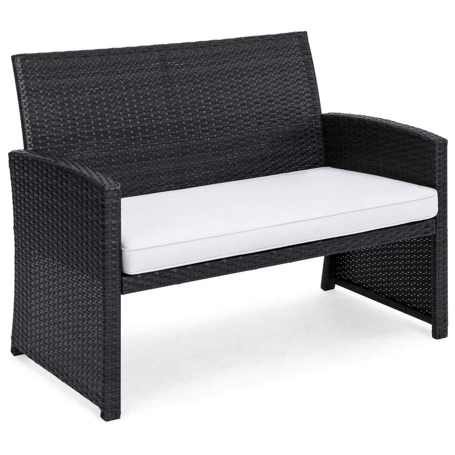 4-Piece Wicker Sofa Set - Black