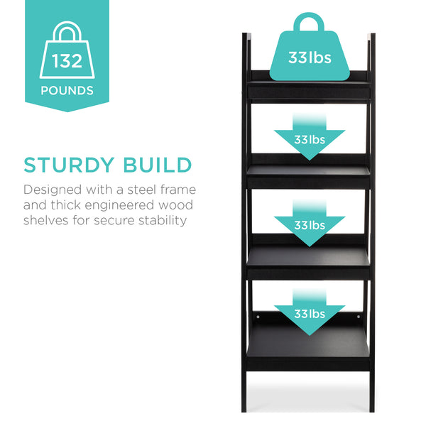 Set of 2 4-Shelf Open Ladder Bookcase Display - Black