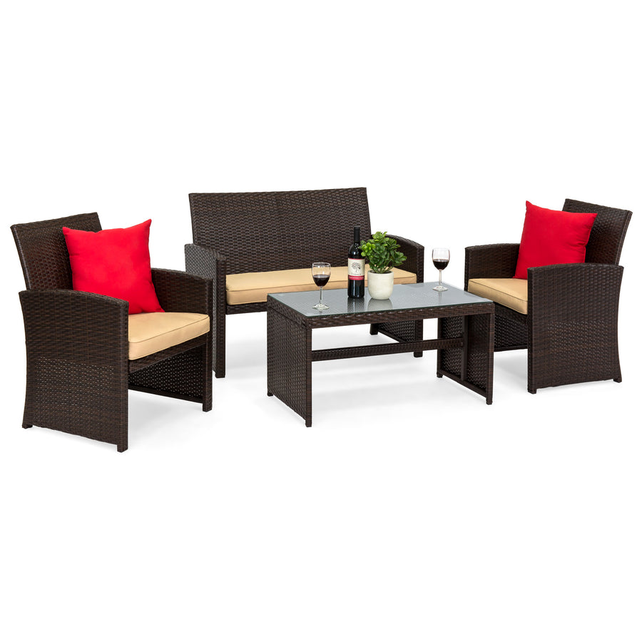 4-Piece Wicker Sofa Set - Brown