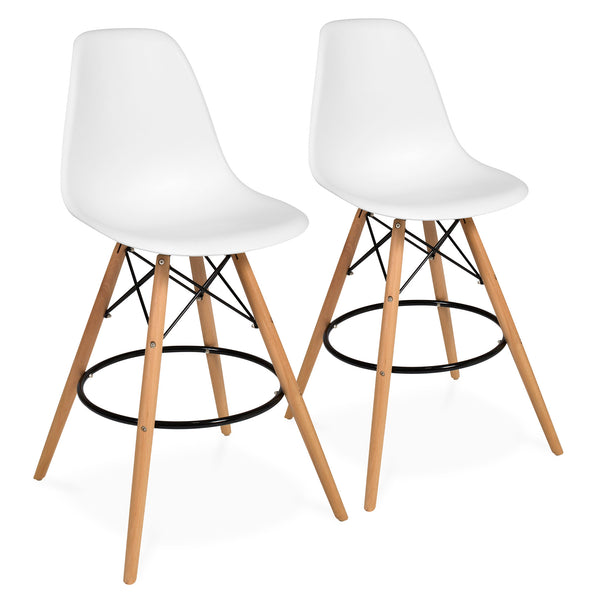 Set of 2 Mid Century Modern Counter Stools - White