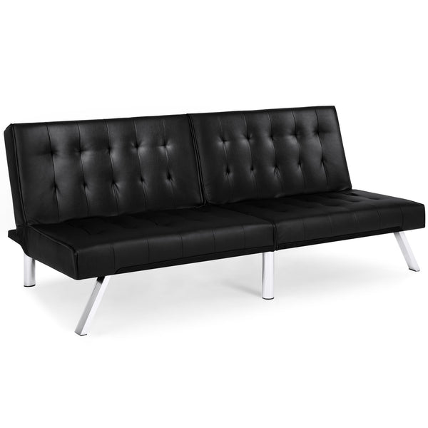 Modern Futon Sofa w/ Split Backrest Adjustment, Tufted Leather ...