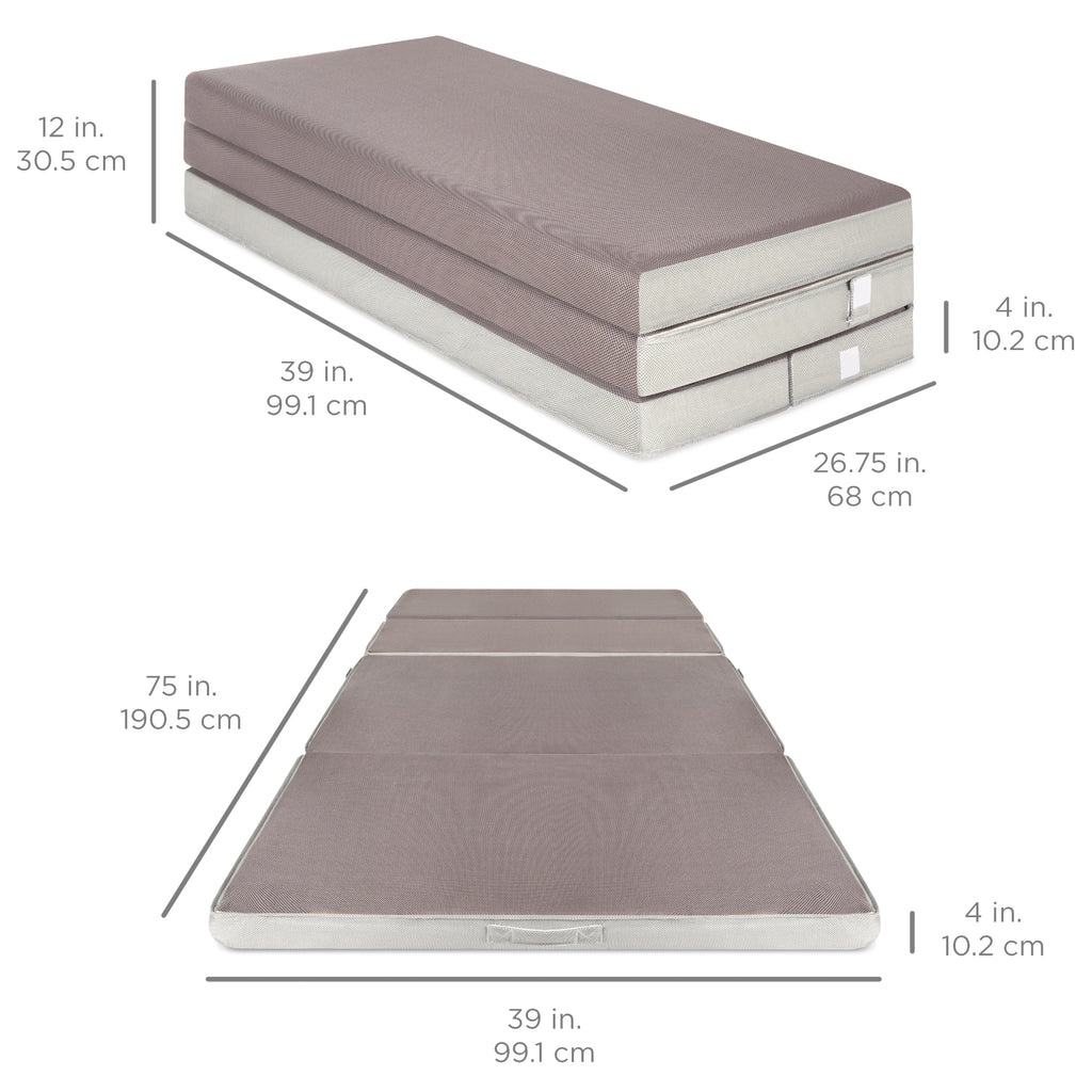 Folding Portable Mattress Topper w/ High-Density Foam - 4in