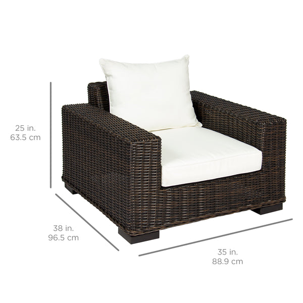 Oversized Wicker Armchair w/ White Cushion