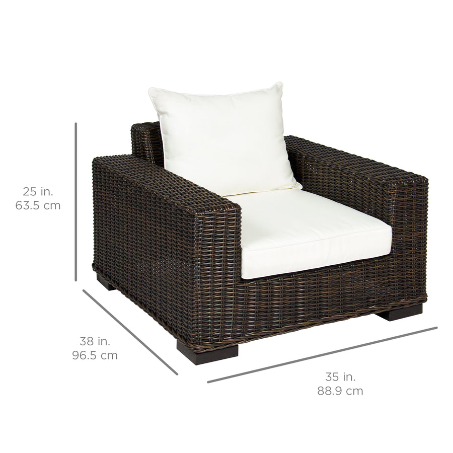 Oversized Wicker Armchair w/ White Cushion - Brown