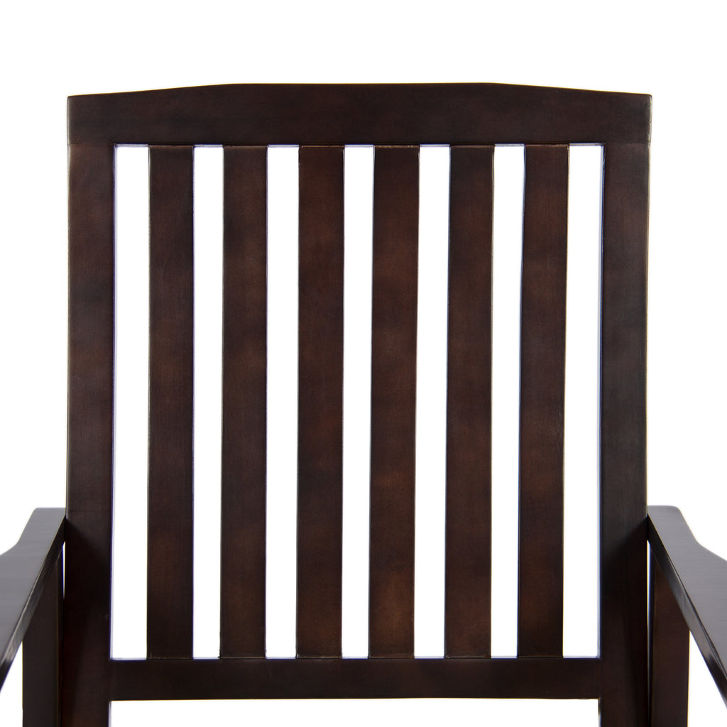 Wood Rocking Chair for Indoor, Outdoor w/ Cushion, Sloped Seat, Curved Back