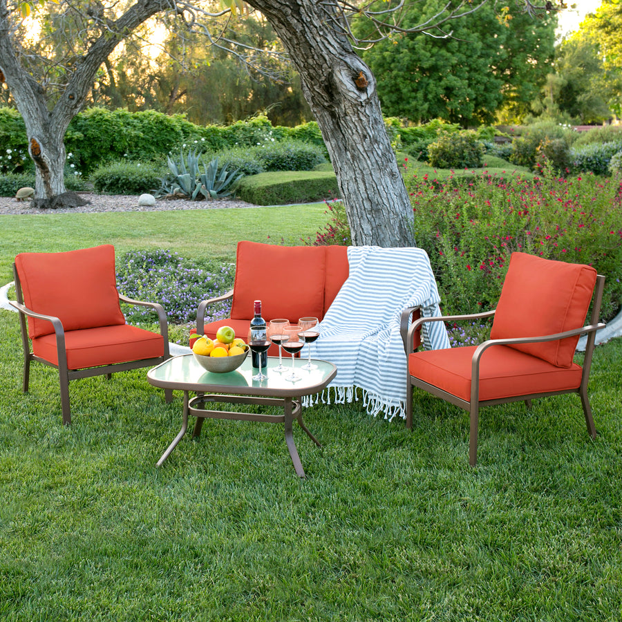 4-Piece Patio Furniture Set - Red