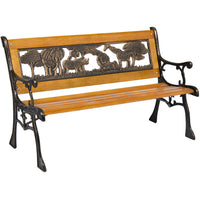 Deals on BCP Kids Mini Sized Patio Park Bench w/Safari Animal Accents