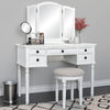 Vanity Dressing Table Set w/ Tri-Fold Mirror, Stool, 5 Drawers