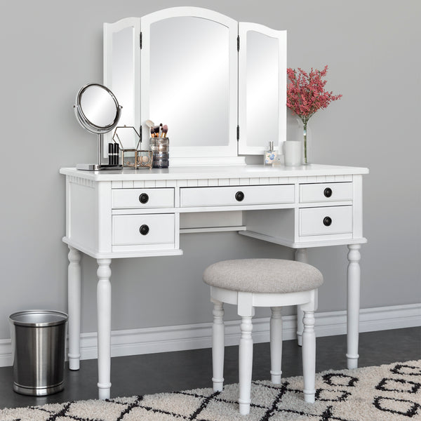 Vanity Dressing Table Set w/ Tri-Fold Mirror, Stool, 5 Drawers - White