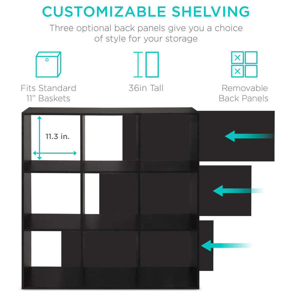 9-Cube Bookshelf Storage Display w/ 3 Removable Panels, Customizable Design