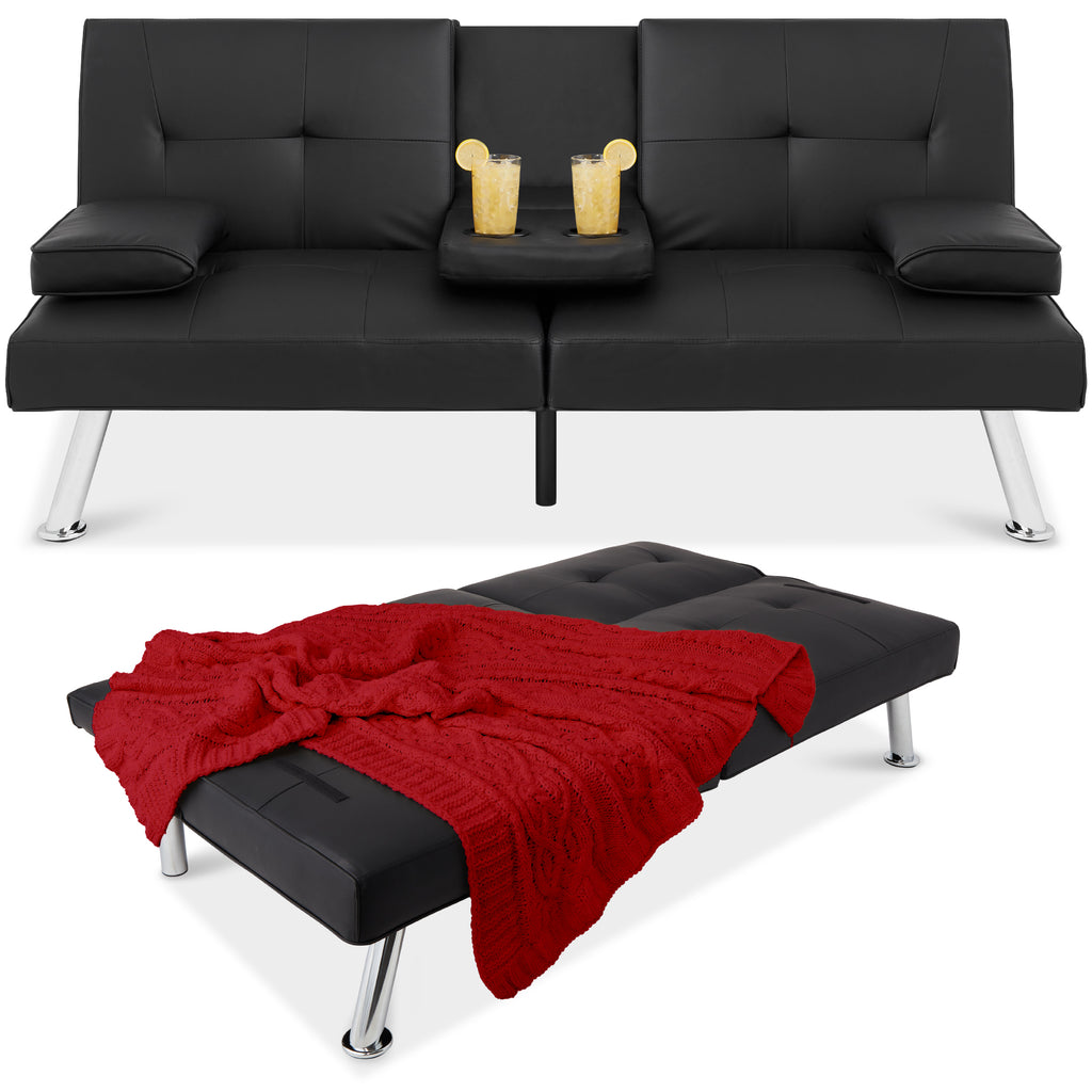 Faux Leather Upholstered Convertible Sofa Bed Futon w/ 2 Cupholders