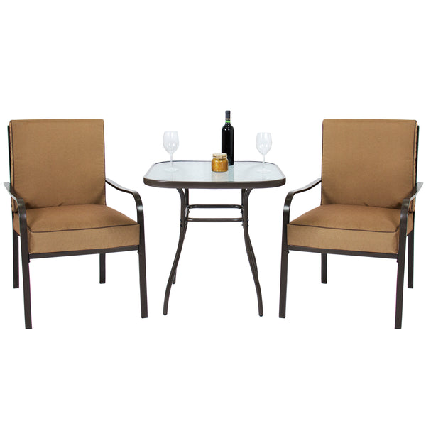 3-Piece Patio Bistro Set w/ Glass Top Table and 2 Chairs - Brown