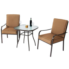 Best Choice Products 3pc Outdoor Patio Bistro Set W/ Glass Top Table, 2 Chairs W/ Cushions