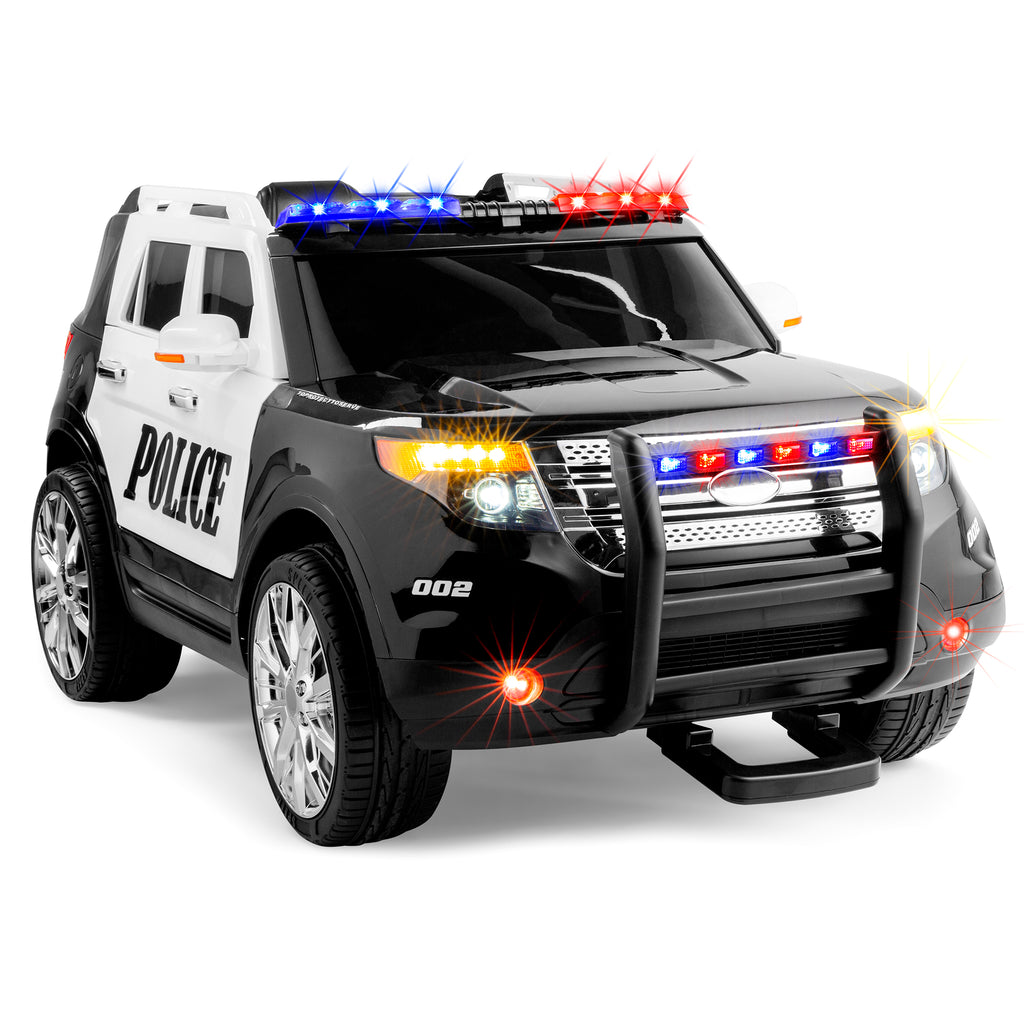 12V Kids Police Ride-On SUV Car w/ 2 Speeds, Lights, AUX, Sirens
