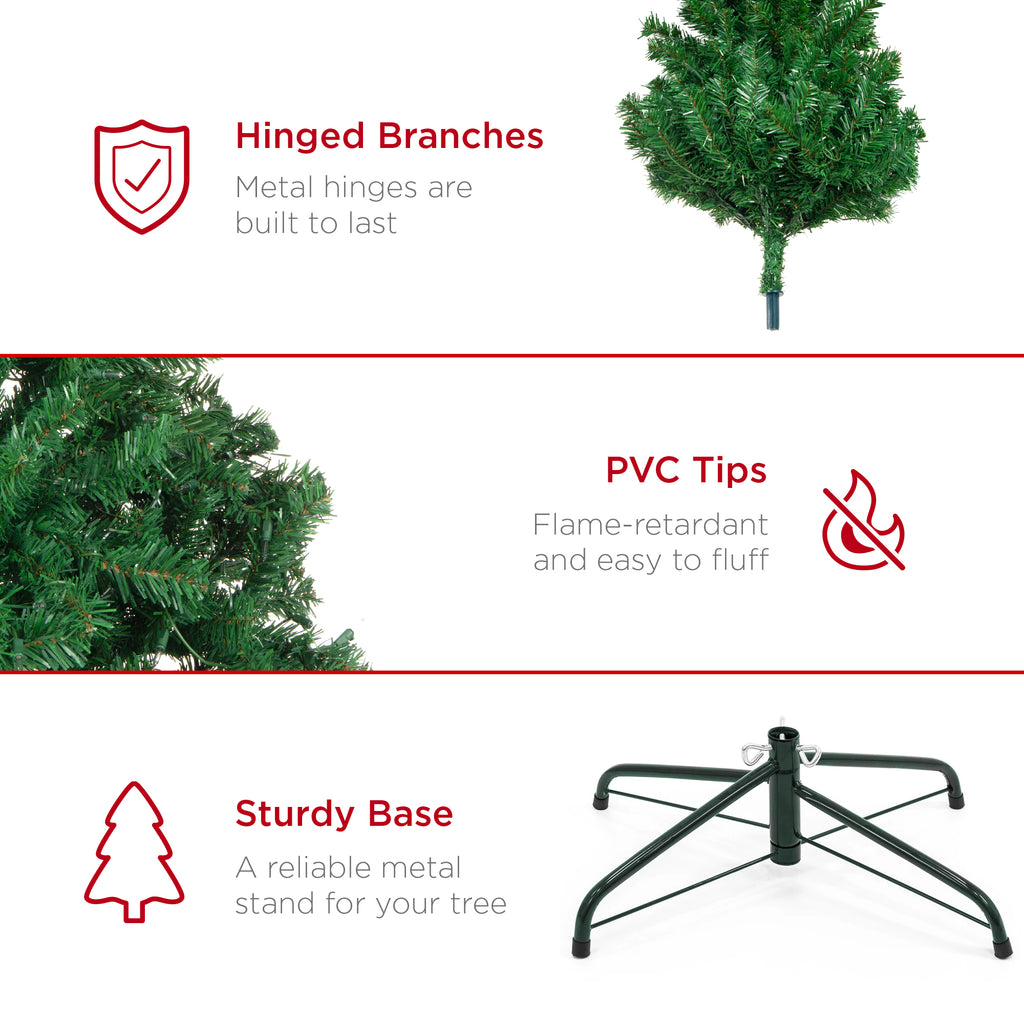 Premium Artificial Spruce Christmas Tree w/ Foldable Metal Base