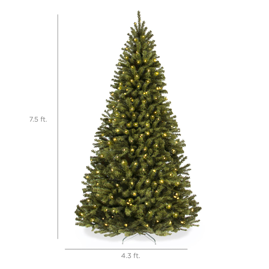 7.5ft Pre-Lit Spruce Hinged Artificial Christmas Tree w/ Stand ...