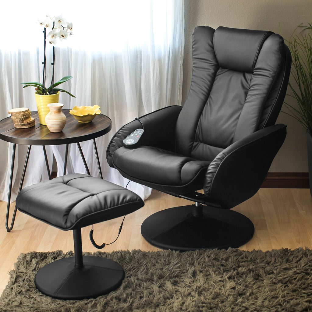 Faux Leather Electric Massage Recliner Chair w/ Ottoman
