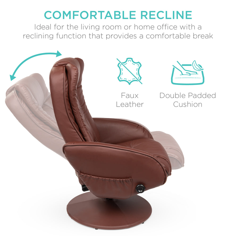 Faux Leather Electric Massage Recliner Chair w/ Stool Ottoman, Remote