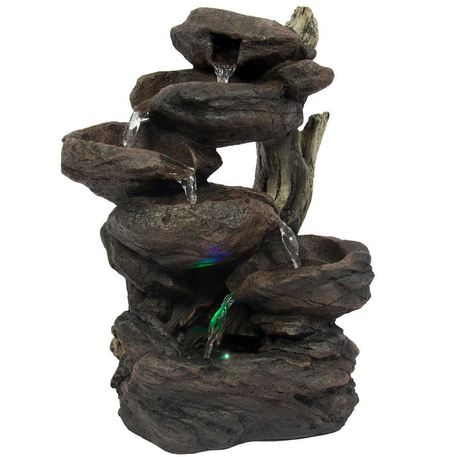 6 Tier Tabletop Waterfall Fountain W/ Multicolor LED Lights   Black