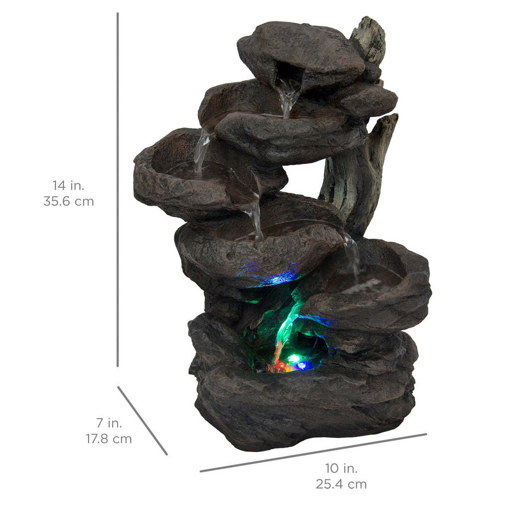 6-Tier Tabletop Waterfall Fountain w/ Multicolor LED Lights - Black