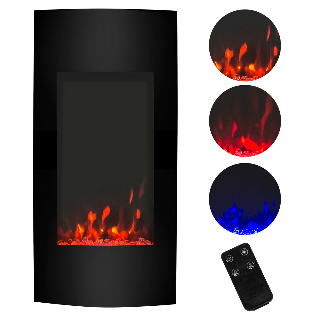 38in 1500W Electric Wall Mounted Fireplace Heater w/ 3 Color & Heat Settings