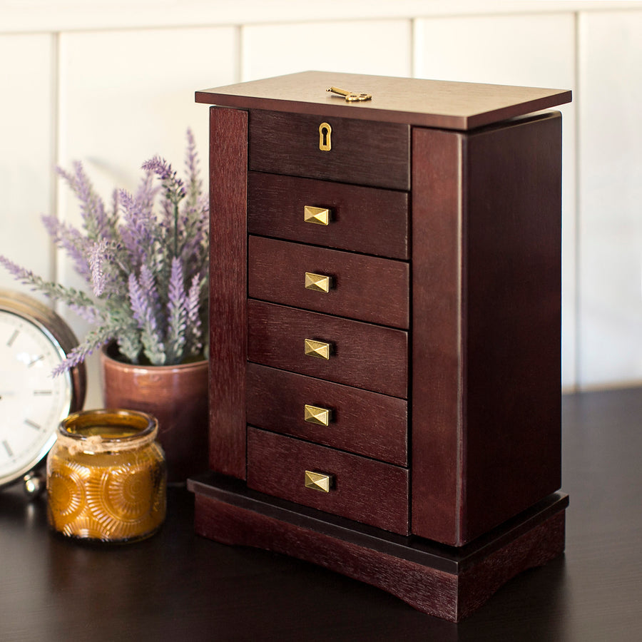 Handcrafted Wooden Tabletop Jewelry Armoire - Brown