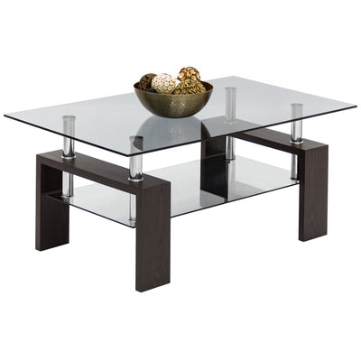 Best Choice Products Home Furniture Wood Glass Top Coffee Table- Dark Espresso Brown