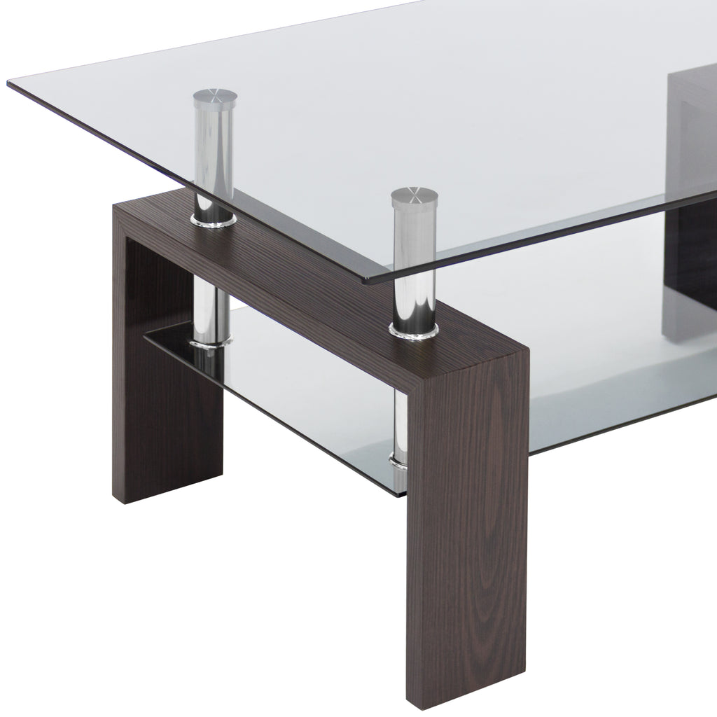 2-Tier Tempered Glass Top Coffee Table - Espresso