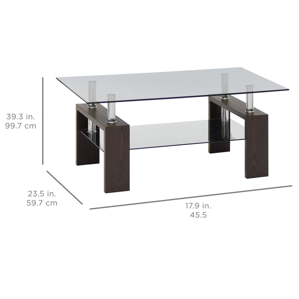 2 Tier Tempered Glass Top Coffee Table   Espresso