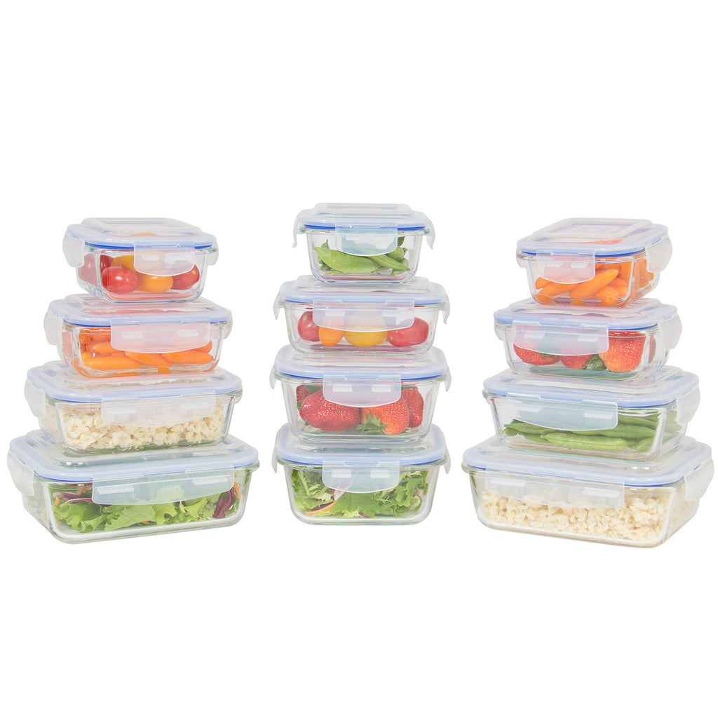 24-Piece BPA-Free Glass Food Container Set w/ 5 Sizes - Clear