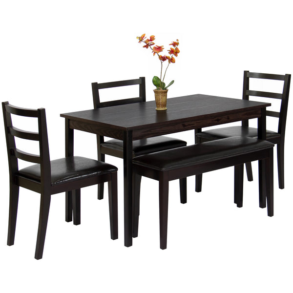 5-Piece Wood Dining Table Set w/ Bench, 3 Chairs Dinette - Brown