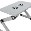 Adjustable Laptop Desk Stand w/ CPU Fan - Silver