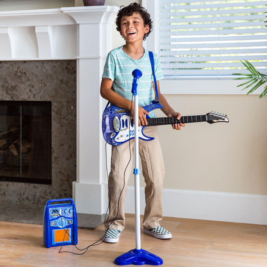 Kids Electric Guitar Toy Play Set w/ 6 Songs, Microphone, Amp