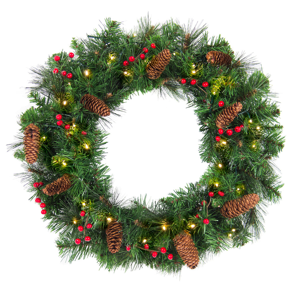 24in Pre-Lit 50 Light Spruce Christmas Wreath w/ Pine Cones, Berries