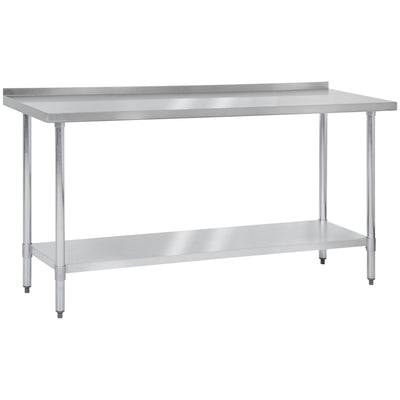 "Best Choice Products 72"" x 24"" Stainless Steel Work Prep Table W/ Backsplash For Commercial Restaurant Kitchen Use"