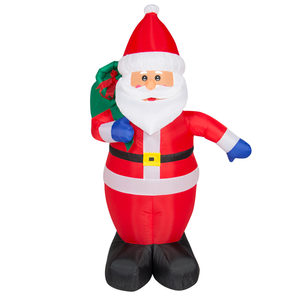 4ft Pre-Lit Inflatable Santa Claus Holiday Decor w/ Blower, Lights - Red