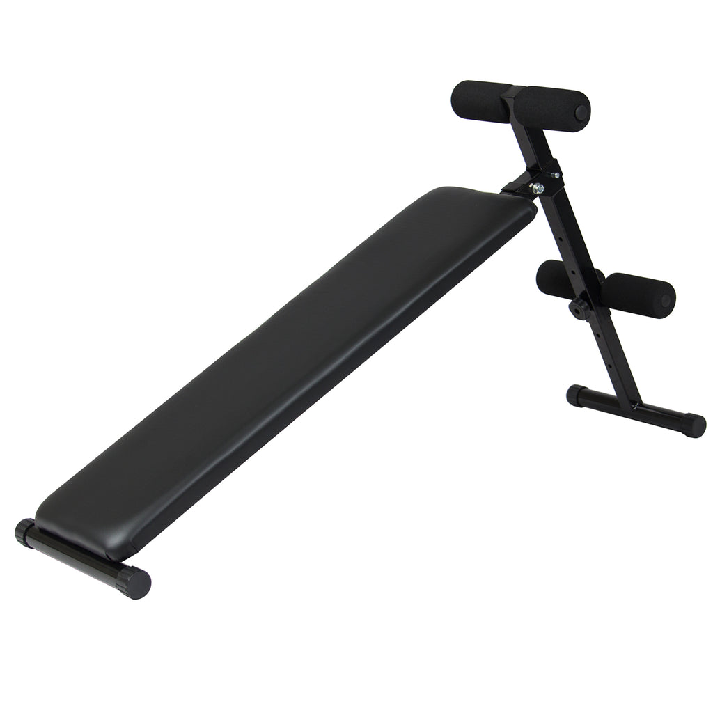 Decline Abdominal Core Workout Bench w/ Adjustable Height - Black